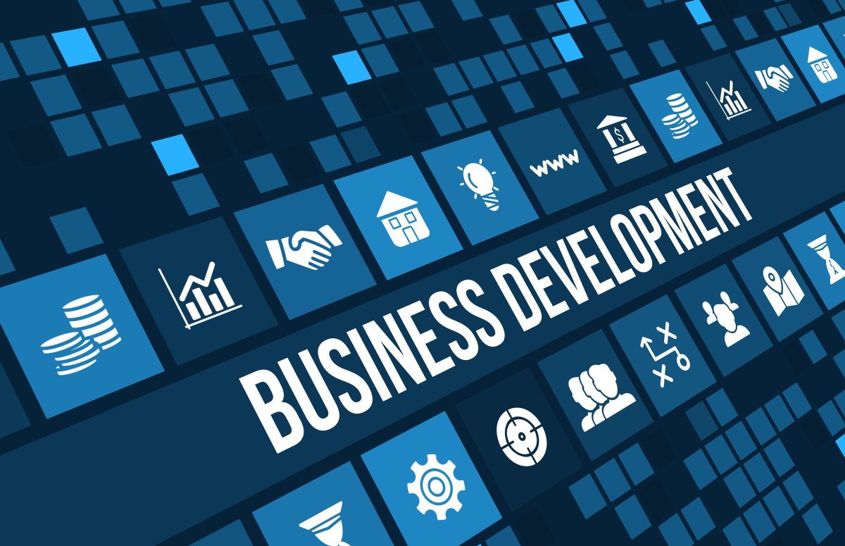 Business development concept image with business icons and copyspace.